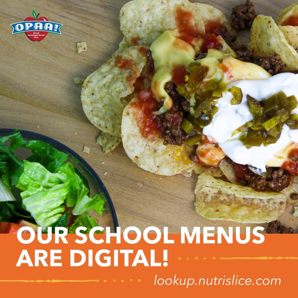 School breakfast and lunch menus are digital
