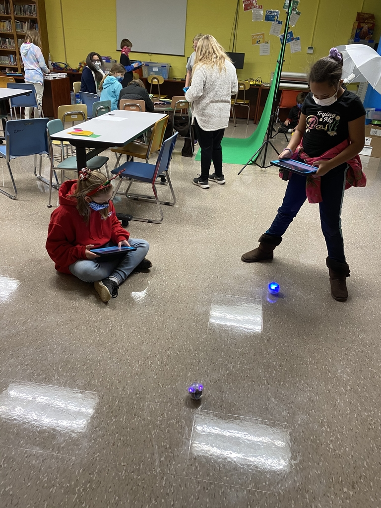 Students using the Spheros.