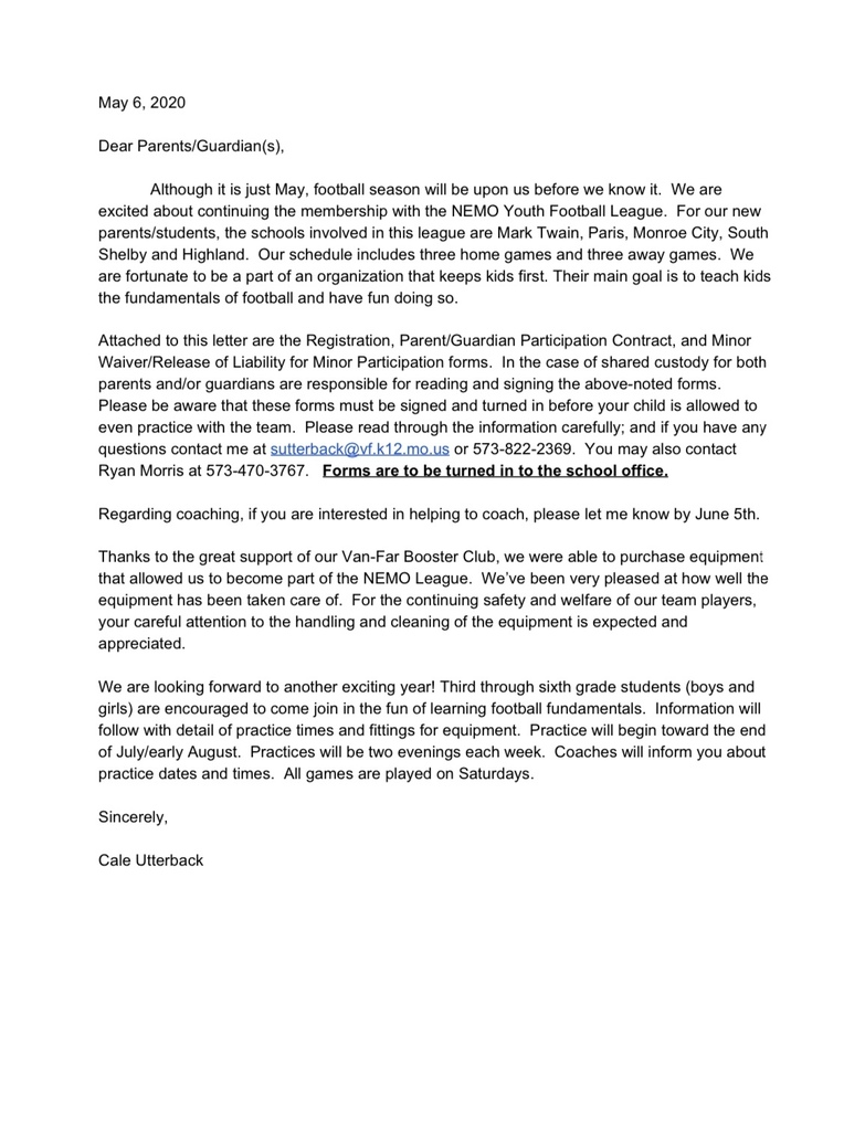 Youth Football Informational Letter