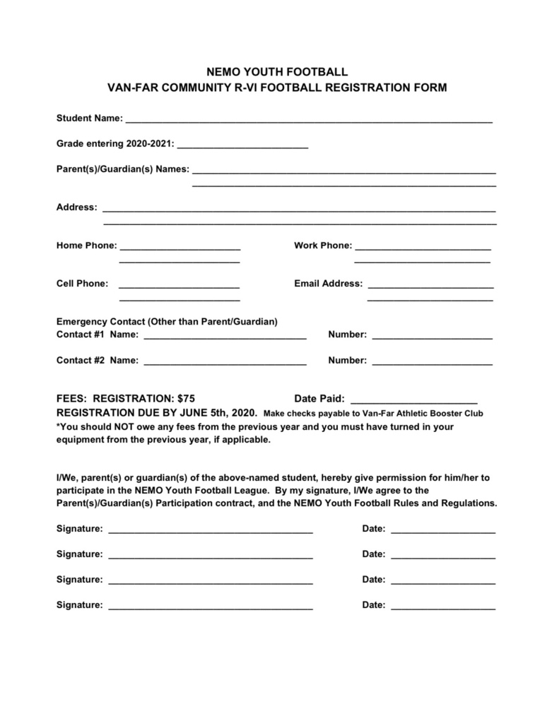 Youth Football Registration Form