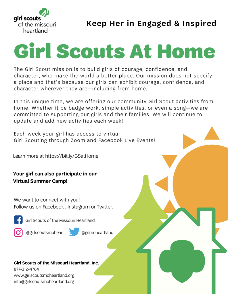 Girl Scout options for at home activities.