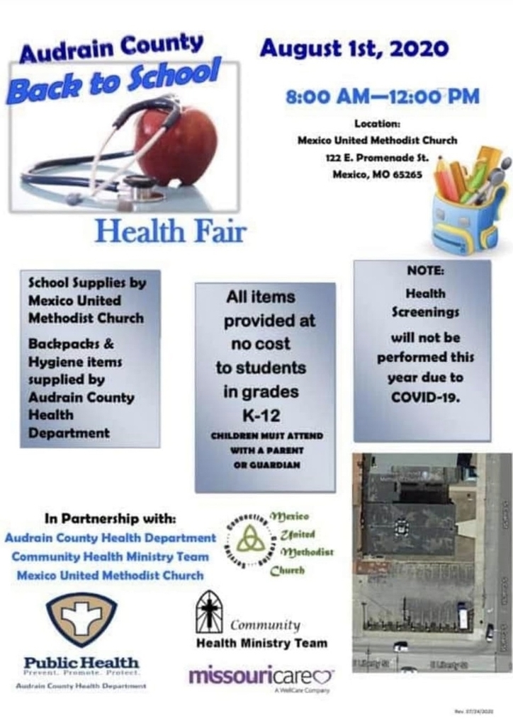 Audrain County Back to School Fair is August 1, 2020.